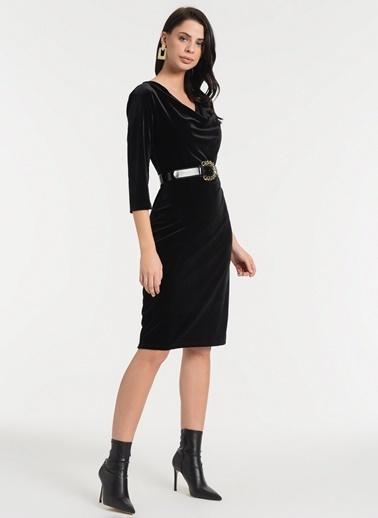 Styletag Kadife Degaje Elbise Siyah